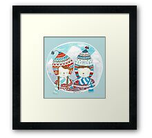 Winter hats mint Framed Print