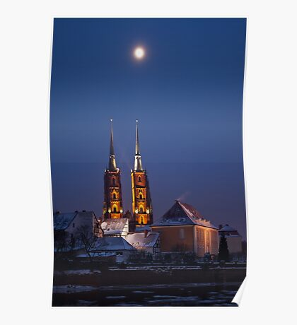 Wrocław Cathedral @night Poster
