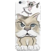 mad cat with a playful mouse iPhone Case/Skin