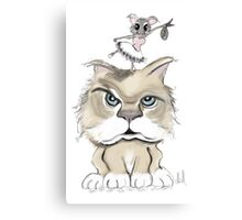 mad cat with a playful mouse Canvas Print