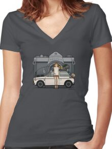 Honda N600 Rally Kei Car With Japanese 60's Asahi Pentax Commercial Girl Women's Fitted V-Neck T-Shirt