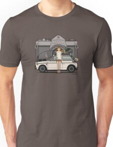 Honda N600 Rally Kei Car With Japanese 60's Asahi Pentax Commercial Girl Unisex T-Shirt