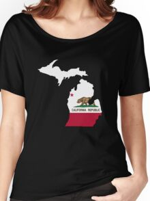 California flag Michigan outline Women's Relaxed Fit T-Shirt