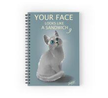 Sandwich face kitty Spiral Notebook
