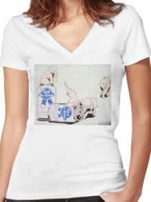 Pink Elephants Make You Think! Women's Fitted V-Neck T-Shirt