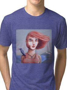 Pretty Girl And Her Bird Tri-blend T-Shirt