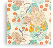 Peony Flower Pattern Metal Print