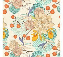 Peony Flower Pattern Photographic Print