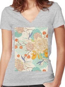 Peony Flower Pattern Women's Fitted V-Neck T-Shirt
