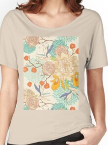 Peony Flower Pattern Women's Relaxed Fit T-Shirt