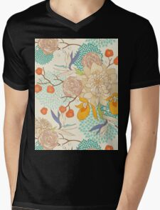 Peony Flower Pattern Mens V-Neck T-Shirt
