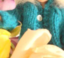 Vintage Barbie with Flowers Sticker
