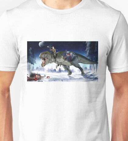 Hitler Riding a T. Rex in the Snow Unisex T-Shirt