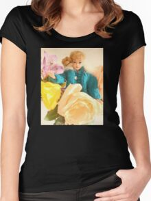 Vintage Barbie with Flowers Women's Fitted Scoop T-Shirt