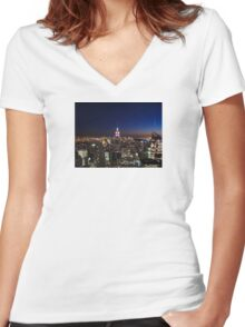 Empire State Building in New York City Women's Fitted V-Neck T-Shirt