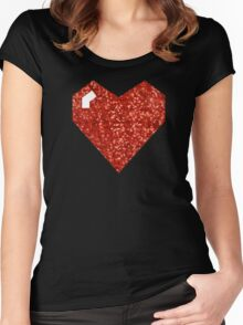 pixel valentines day heart Women's Fitted Scoop T-Shirt