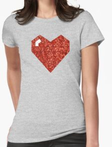 pixel valentines day heart Womens Fitted T-Shirt