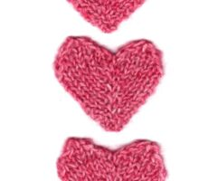 Pink Love Hearts Knitted Sticker