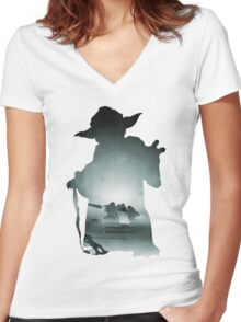 Yoda Silhouette Women's Fitted V-Neck T-Shirt