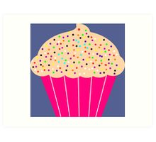 Pink Cupcake with Sprinkles Art Print