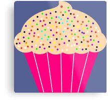 Pink Cupcake with Sprinkles Metal Print