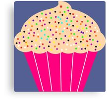 Pink Cupcake with Sprinkles Canvas Print