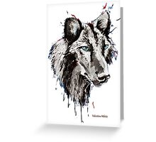 Black Wolf 2- Animal Art by Valentina Miletic Greeting Card