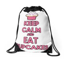 Keep Calm and Eat Cupcakes Pink Drawstring Bag
