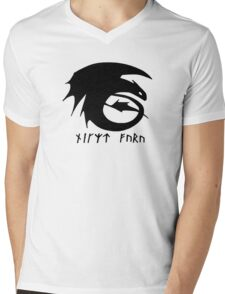 Toothless + Runic Text (black) Mens V-Neck T-Shirt