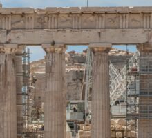 Modern and Ancient - Parthenon at Acropolis of Athens Under Construction Sticker