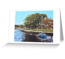 Sailing Boats and Yachts on the River Stour Christchurch Greeting Card