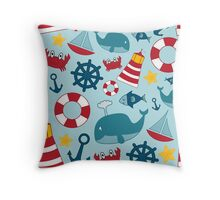 Nautical Themed Background Throw Pillow