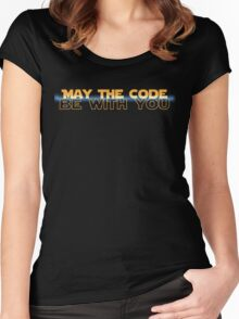 Geekit - IT shirts - May The Code Be With You(with blue) Women's Fitted Scoop T-Shirt