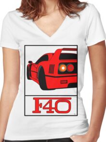 F40 Women's Fitted V-Neck T-Shirt