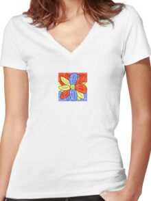 Flower Red Yellow Blue Women's Fitted V-Neck T-Shirt
