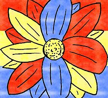 Flower Red Yellow Blue by DavidsRedBubble