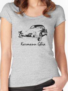 VW Karmann Ghia Stensil Print Women's Fitted Scoop T-Shirt