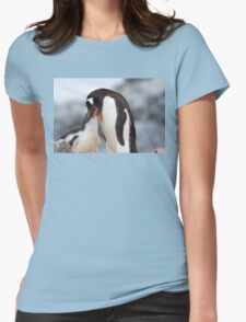 """Gentoo Penguin and Chick ~ """"Meals Home Delivered"""" Womens Fitted T-Shirt"""