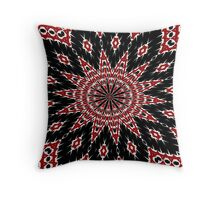 Black Red and White Bold Floral Kaleidoscope Throw Pillow