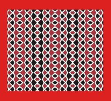 Decorative Red Black and White Pattern One Piece - Short Sleeve