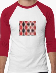 Decorative Red Black and White Pattern Men's Baseball ¾ T-Shirt