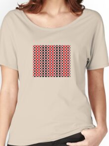 Decorative Red Black and White Pattern Women's Relaxed Fit T-Shirt
