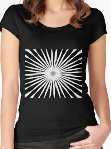 Starburst Black and White Pattern Women's Fitted Scoop T-Shirt