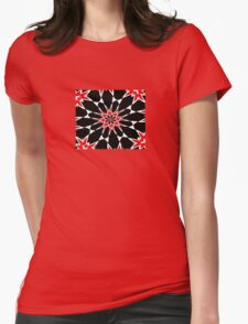Bizarre Red Black and White Pattern 3 Womens Fitted T-Shirt