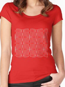 Red Background, White Diamond and Black Spots 2 Women's Fitted Scoop T-Shirt