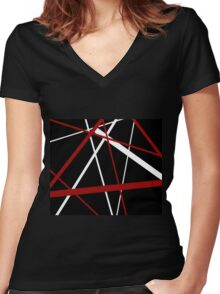 Red and White Stripes on A Black Background Women's Fitted V-Neck T-Shirt