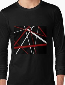 Red and White Stripes on A Black Background Long Sleeve T-Shirt