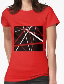 Red and White Stripes on A Black Background Womens Fitted T-Shirt