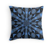 Blue Steel and Black Fragmented Kaleidoscope Throw Pillow
