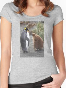 King Penguin and chick ~ Meal Time Women's Fitted Scoop T-Shirt